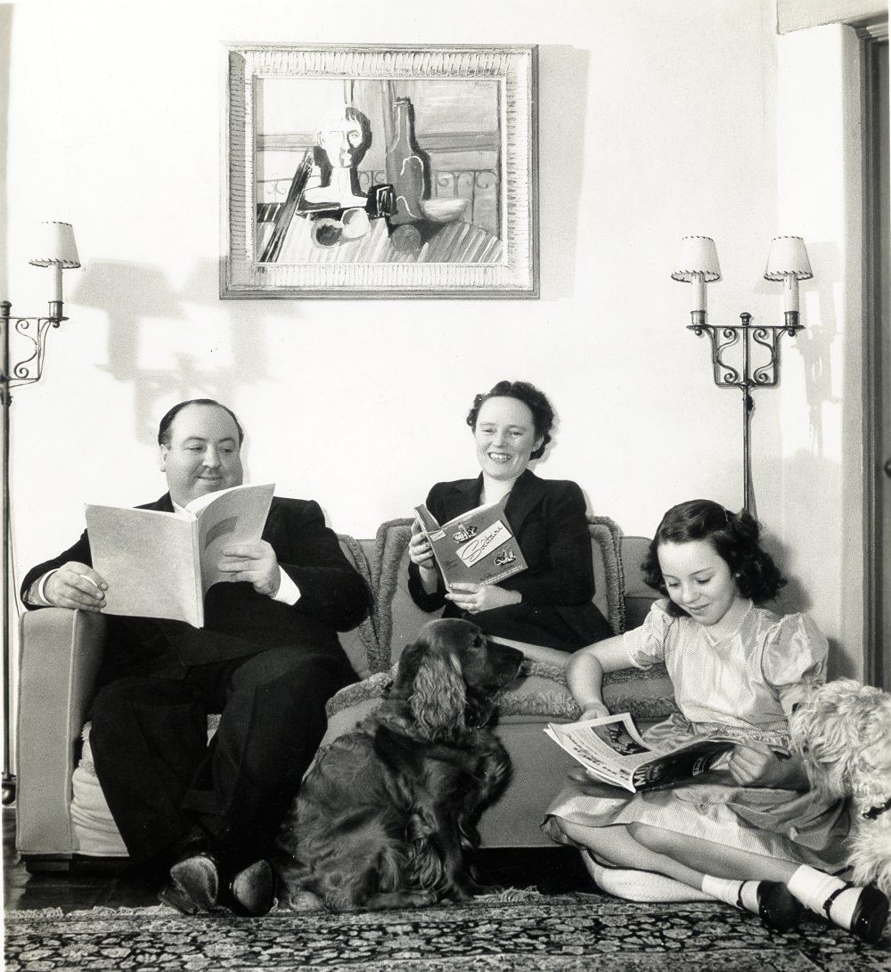Alfred Hitchcock and Alma Reville at home in Los Angeles with their daughter Patricia and a Picasso