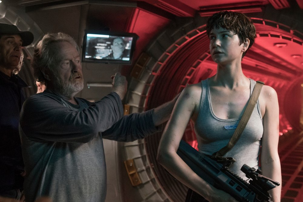Ridley Scott and Katherine Waterston on the set of Alien: Covenant (2017)