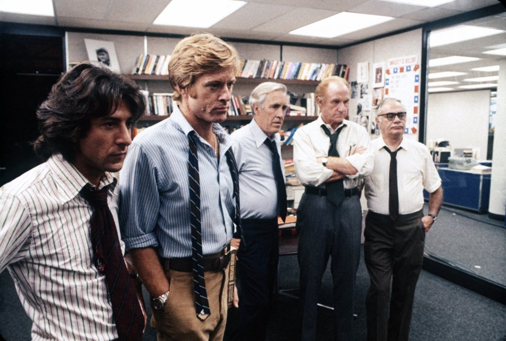 Alan J. Pakula's All the President's Men (1976) is the story of the uncovering of the Watergate scandal by two Washington Post journalists (played by Dustin Hoffman and Robert Redford). Willis's memorable contributions include deep-focus work in the Washington Post newsroom, with its banks of fluorescent lighting, and a celebrated overhead shot of the Library of Congress, in which the camera climbs higher and higher until Redford and Hoffman seem tiny figures lost in a maze