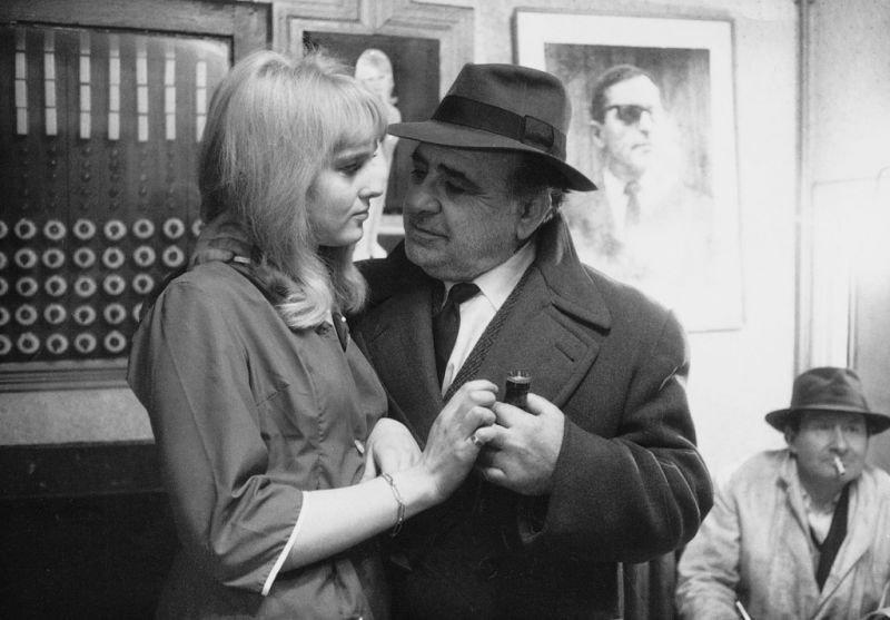 Christa Lang with Akim Tamiroff in Jean-Luc Godard's Alphaville (1965)