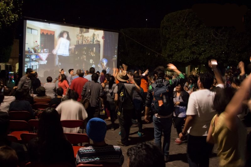 A screening of Andres Duprat's Living Stars (2014) in Michoacan