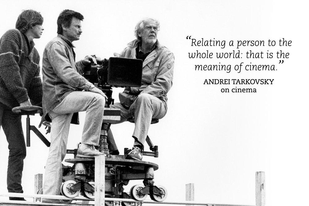 Andrei Tarkovsky (middle) shooting The Sacrifice (1986) with cinematographer Sven Nykvist (right)