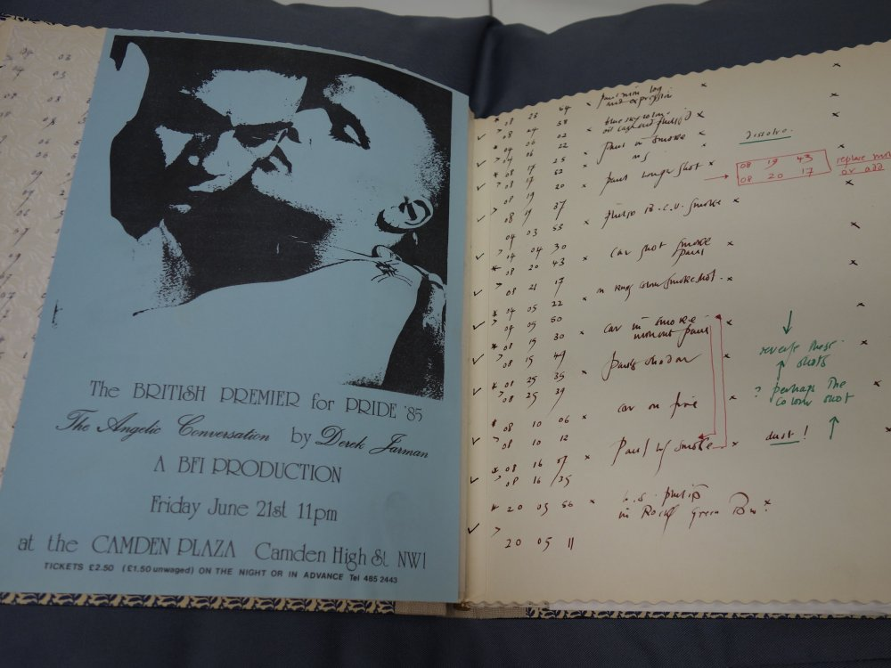A flyer for the premiere of The Angelic Conversation in 1985 found in one of Jarman's notebooks
