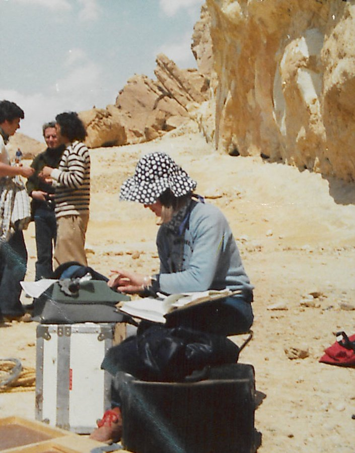 Skinner on location in Tunisia with her script and typewriter