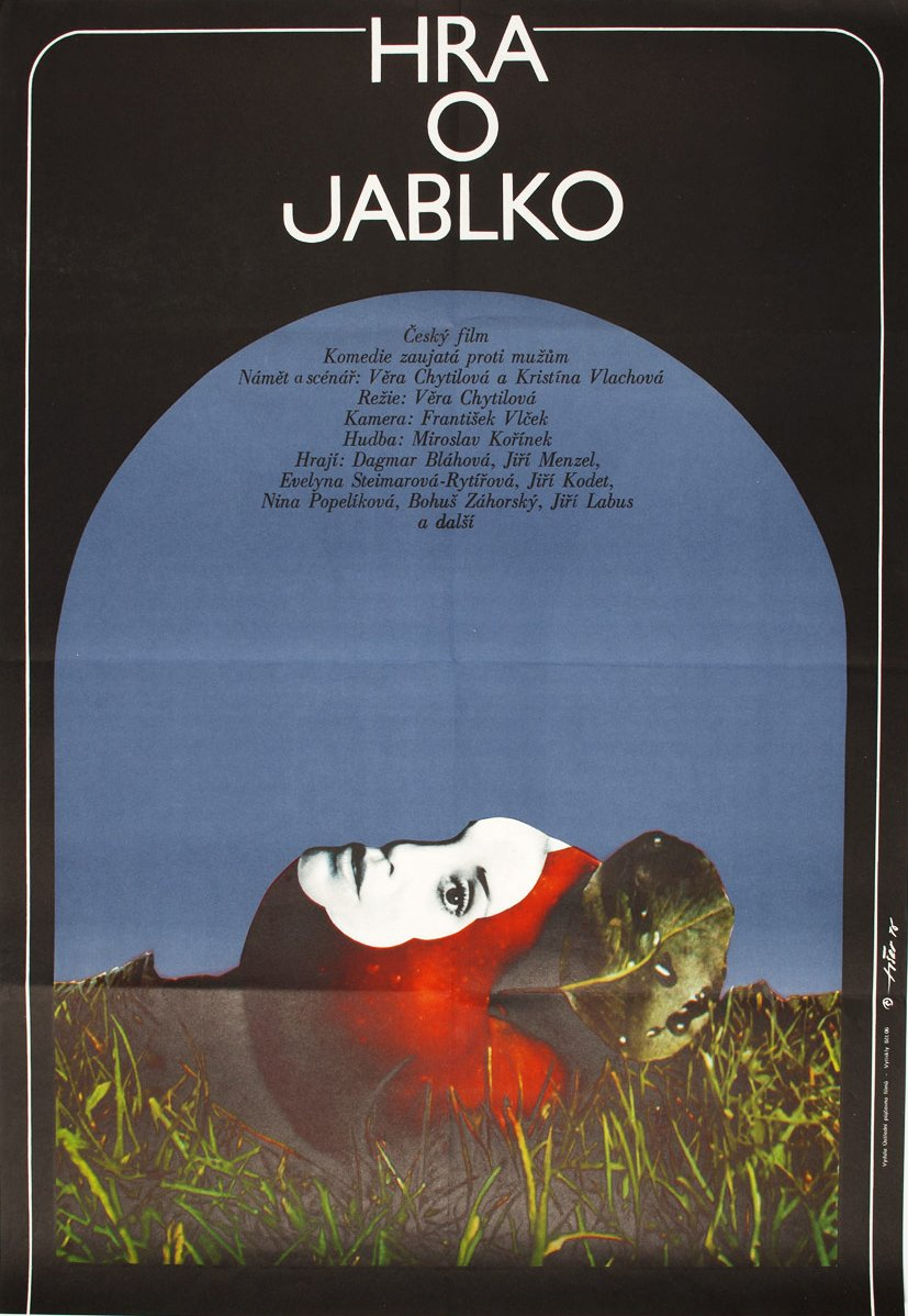 A design for The Apple Game (Hra o jablko, 1976): the first poster Jaroslav Fiser designed for Chytilová, for the first film she made after being banned from filmmaking for several years.