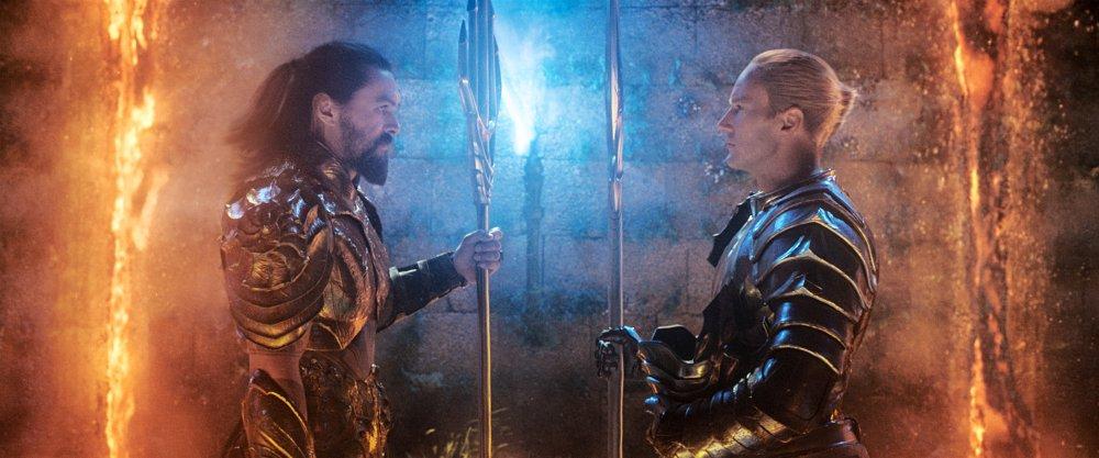 Jason Momoa as Arthur Curry/Aquaman and Patrick Wilson as King Orm