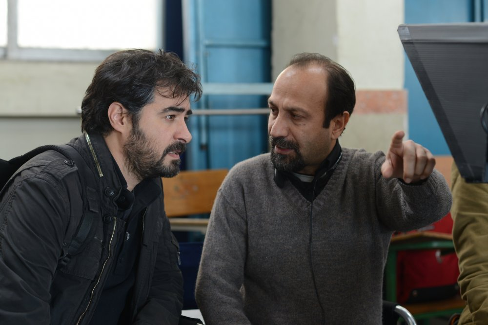 Asghar Farhadi with Shahab Hosseini during production of The Salesman (2016)