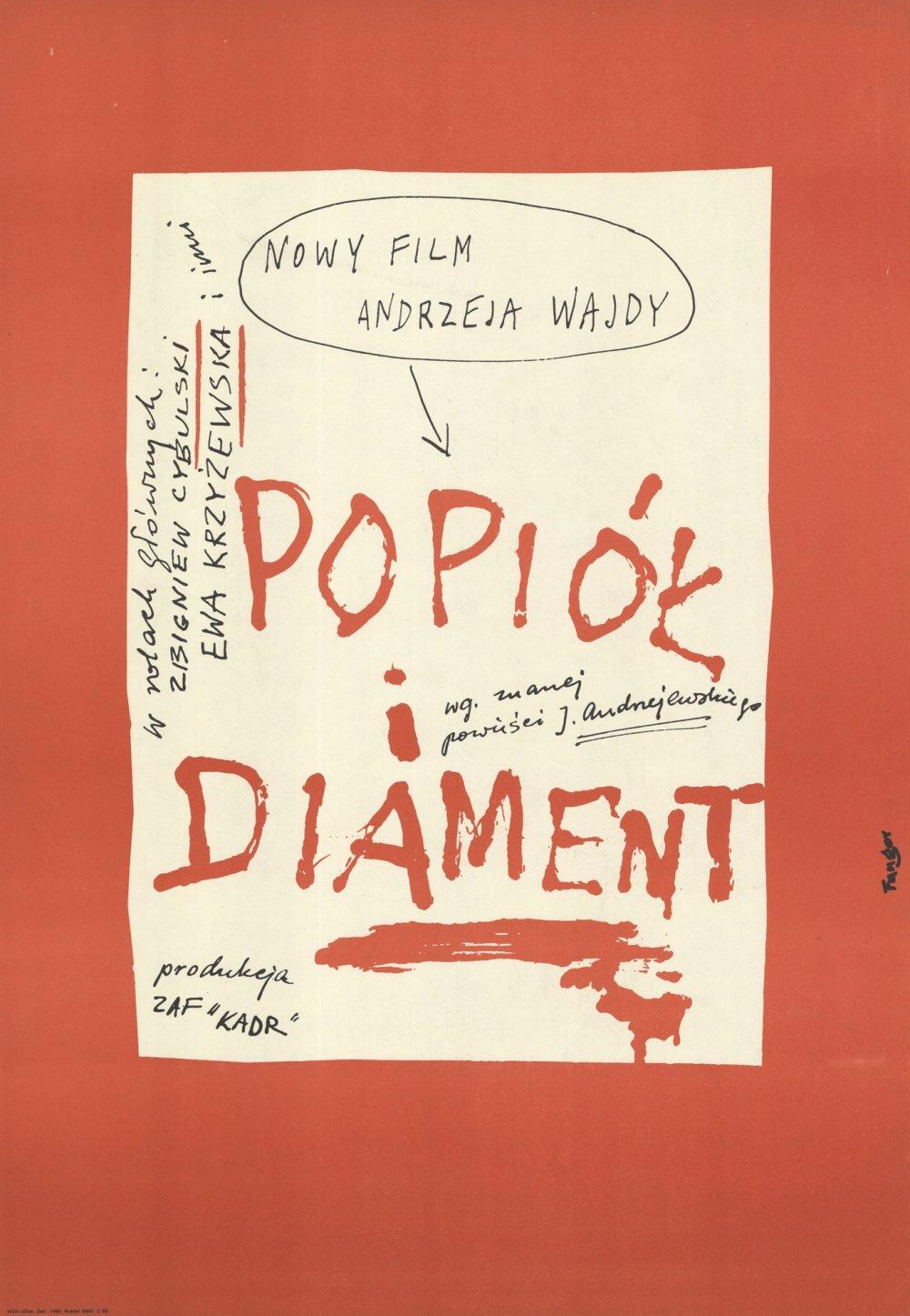 Ashes and Diamonds (1958): Polish poster by Wojciech Fangor, 1958
