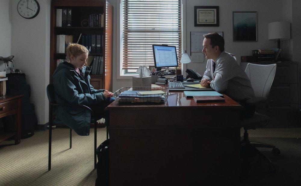 Julia Garner with Matthew MacFadyen as HR manager Wilcock