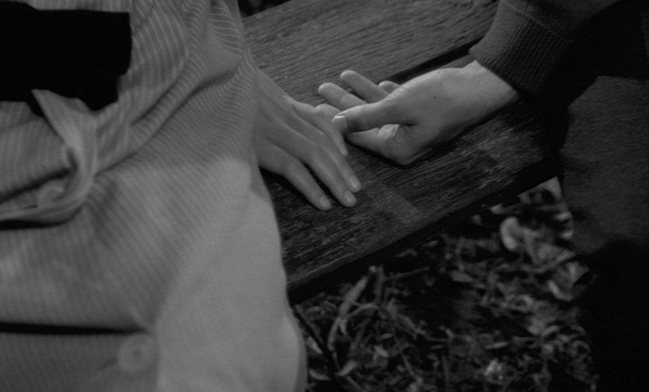…and another typical Bresson touch: the focus in on gestures that speak louder than words, here Marie refusing to respond to Jacques' advances. Hands are essential for Bresson, instruments that convey our best intentions (even if misguided as here)…