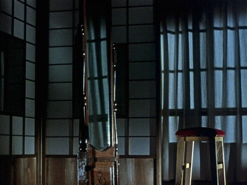 … in Ozu's last ever pillow shot sequence, the daughter now gone, the father now alone (and a little inebriated), the house now in darkness