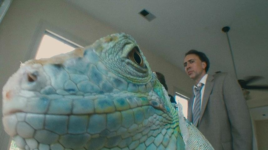 Nicolas Cage with iguana friend in The Bad Lieutenant: Port of Call – New Orleans (2009)