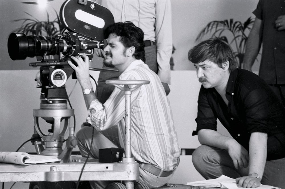 DP Michael Balhaus and director Rainer Werner Fassbinder on the set of Beware of a Holy Whore (1970)