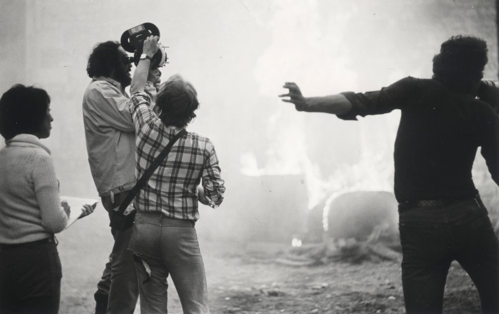 Director Stanley Kubrick on location during production of Barry Lyndon (1975)