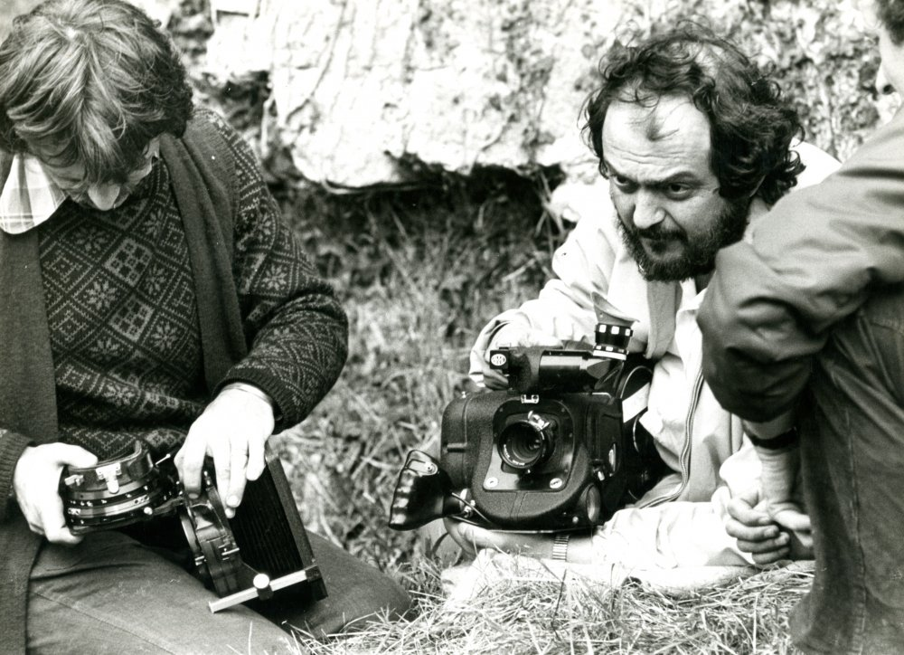 The director prepares a shot. His cinematographer on the film was John Alcott, who won the Oscar for best cinematography on what is often referred to as one of the most beautiful films ever made. Alcott also collaborated with Kubrick on A Clockwork Orange (1971) and The Shining (1980)