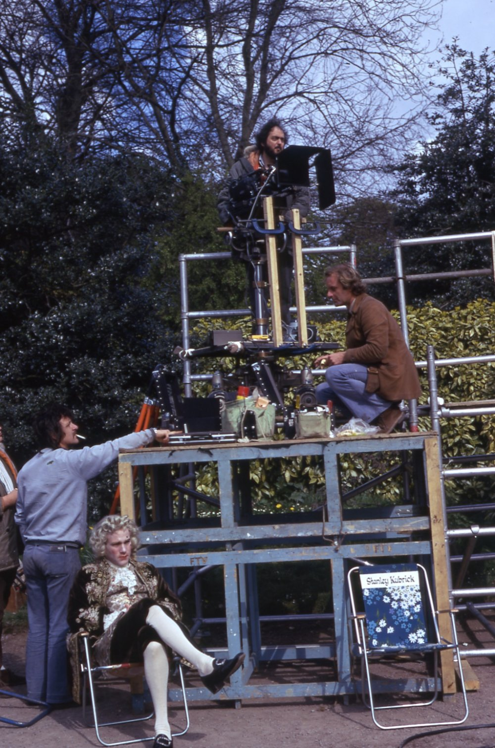 Surveilling the scene from on high. Notice the floral garden chair with the words 'Stanley Kubrick' emblazoned on the back – a picnic-ready alternative to the traditional director's chair