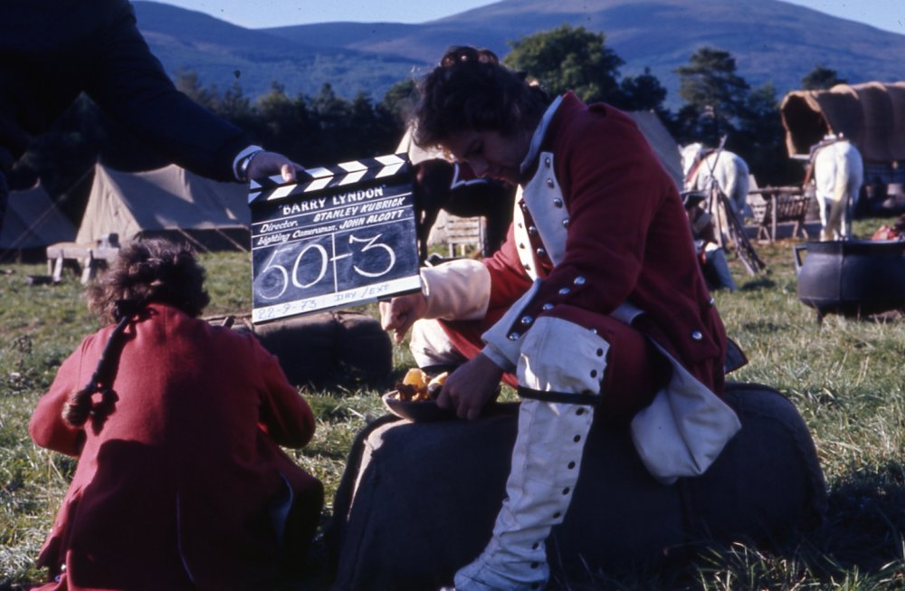 Between takes at the army encampment. In Kubrick's adaptation of William Thackeray's picaresque novel, Ryan O'Neal plays the 18th-century adventurer Redmond Barry. Fleeing his hometown after taking part in a duel, Barry enlists in the British army and travels to the continent to fight in the Seven Years' War