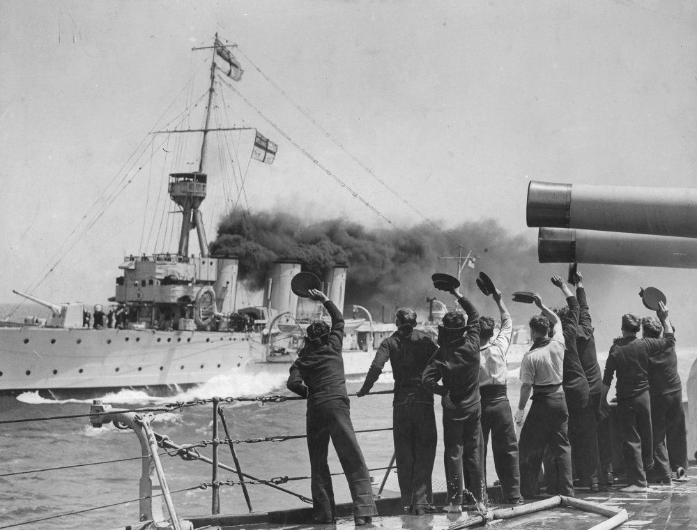 Sailors greet a sister ship on the high seas: The Battles of Coronel and Falkland Islands (1927)