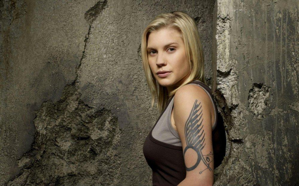 Katee Sackhoff as Kara Thrace on Battlestar Galactica (2004-2009)