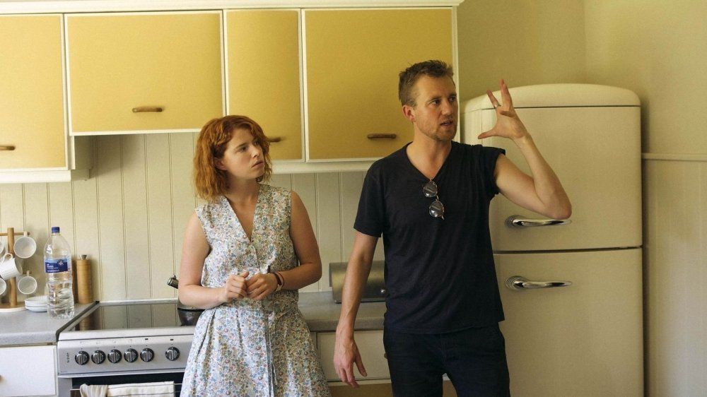 Jessie Buckley and Michael Pearce on location for the production of Beast (2017)