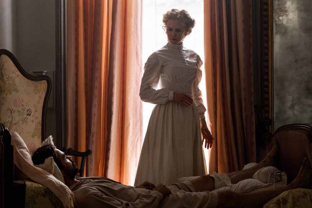 Colin Farrell as convalescent Unionist soldier Corporal McBurney and Nicole Kidman as Miss Martha, headmistress of the makeshift girls' school that shelters him, in Sofia Coppola's adaptation of Thoms Cullinan's Civil War drama The Beguiled