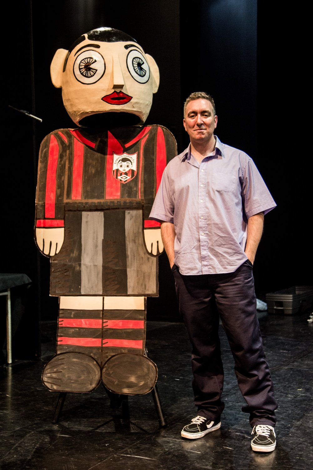 Steve Sullivan with an oversized Little Frank to promote Being Frank: The Chris Sievey Story (2019)