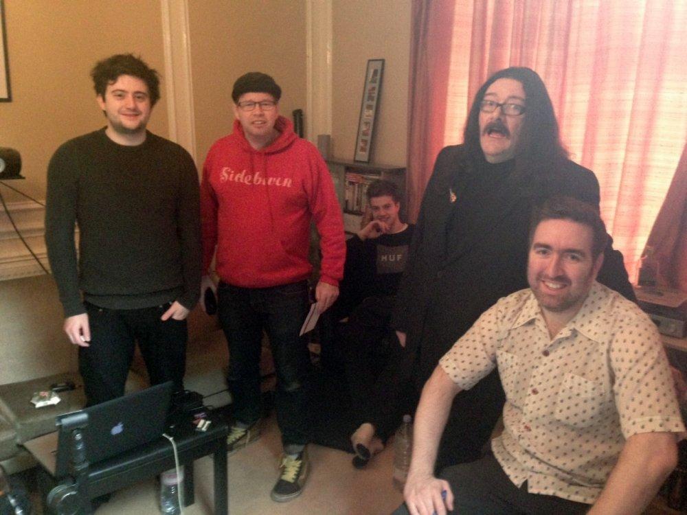 Before interviewing Martin Sievey. From left sound recordist Dom Corbisiero, art director Dave Arnold, director of photography Ezra Byrne, Martin Sievey, Steve Sullivan