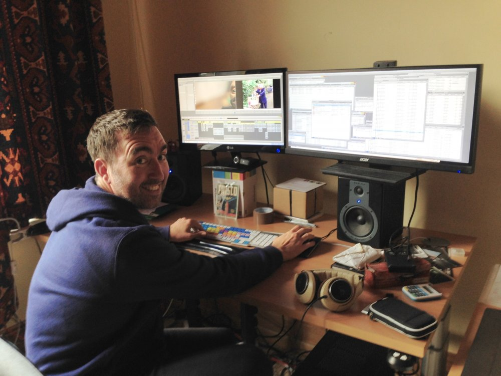 Steve Sullivan editing Being Frank. A back support chair, Avid Media Composer and lots of screen real estate for all the bins