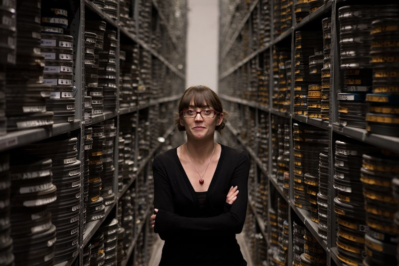 The film vault at the BFI's Conservation Centre, with Kat Bishop, Assistant Facilities Manager