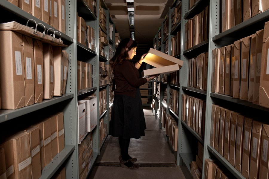 Conservation Centre storage of Special Collections, with Carolyne Bevan, Curator - Scripts, Documents & Ephemera