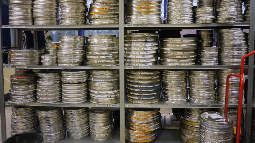 Film cans in the BFI National Archive