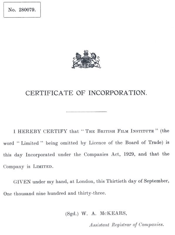 The BFI's certificate of incorporation, dated 30 September 1933
