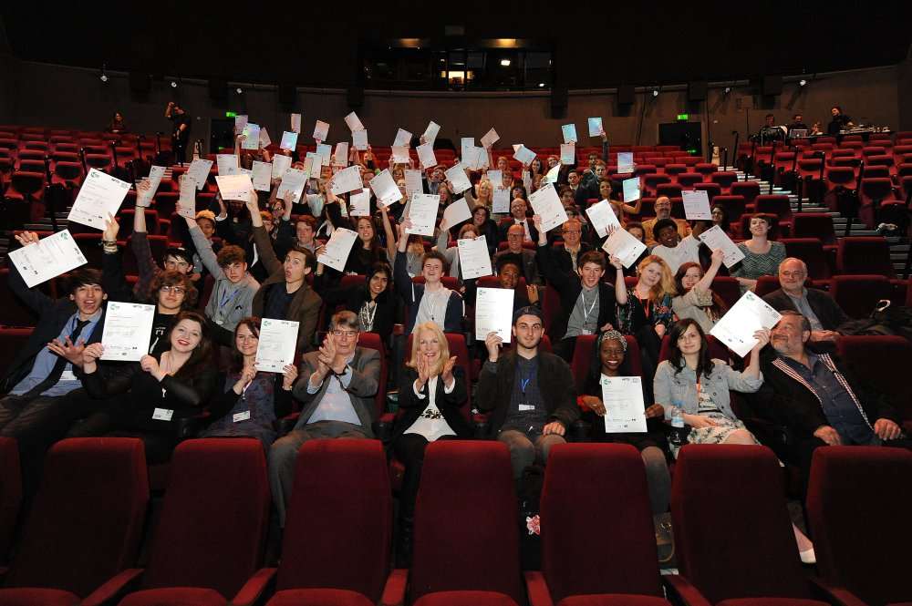 Graduates of the 2014 BFI Film Academy with Nik Powell (Director of the National Film and Television School) and Amanda Nevill (BFI CEO)