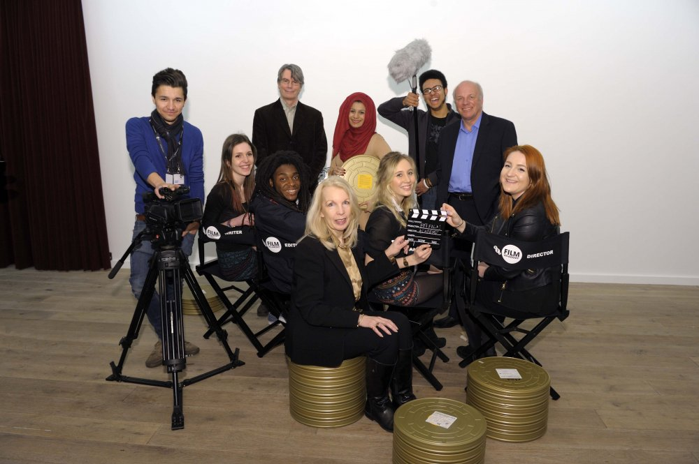 BFI Film Academy graduates with Nik Powell, NFTS Director; Amanda Nevill, BFI CEO; and Greg Dyke, BFI Chair