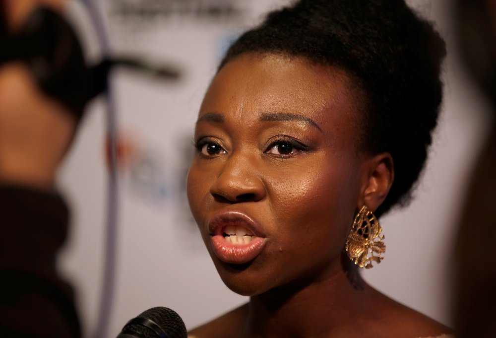 Muna Otaru at the premiere of The Keeping Room at the 58th BFI London Film Festival