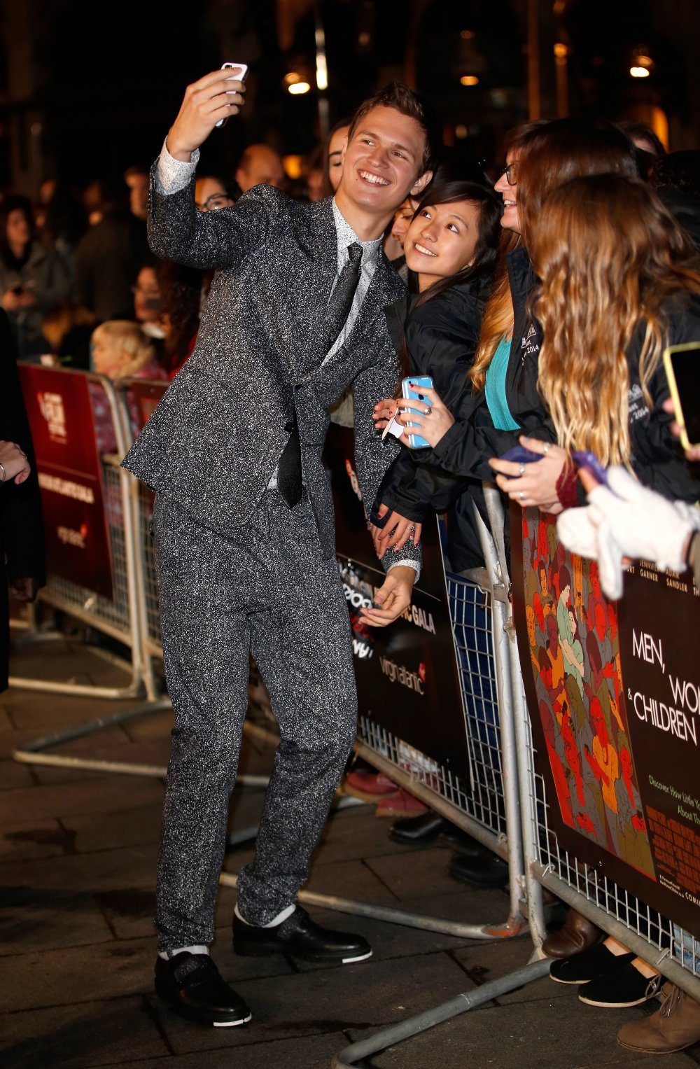 Angel Elgort on the red carpet for Men, Women & Children at the 58th BFI London Film Festival