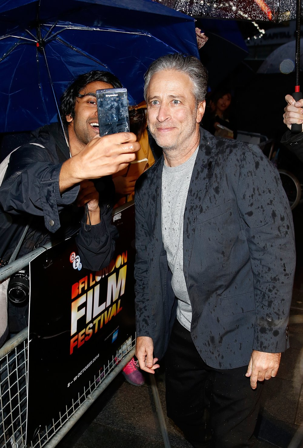 Jon Stewart on the red carpet for Rosewater at the 58th BFI London Film Festival