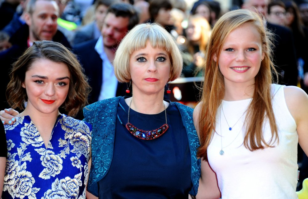 Director Carol Morley (centre) with actors Maisie Williams and Ellie Bamber on the red carpet for The Falling at the 58th BFI London Film Festival