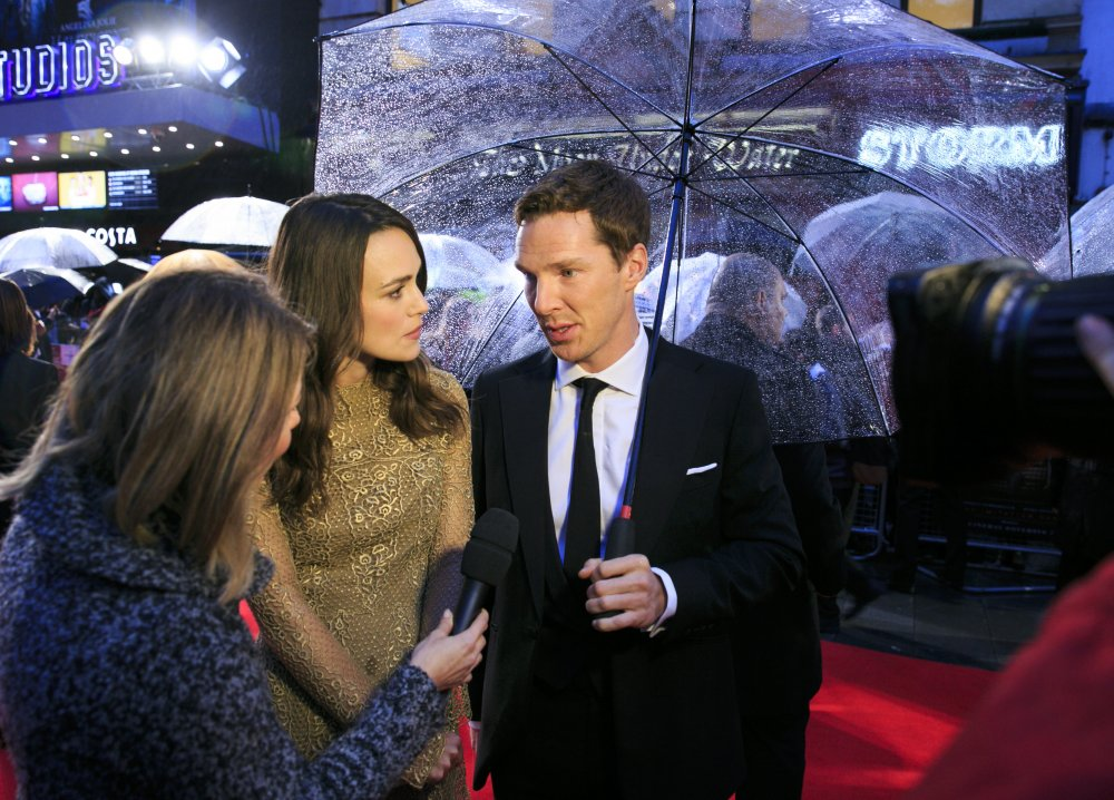 Keira Knightley and Benedict Cumberbatch on the red carpet for The Imitation Game at the 58th BFI London Film Festival