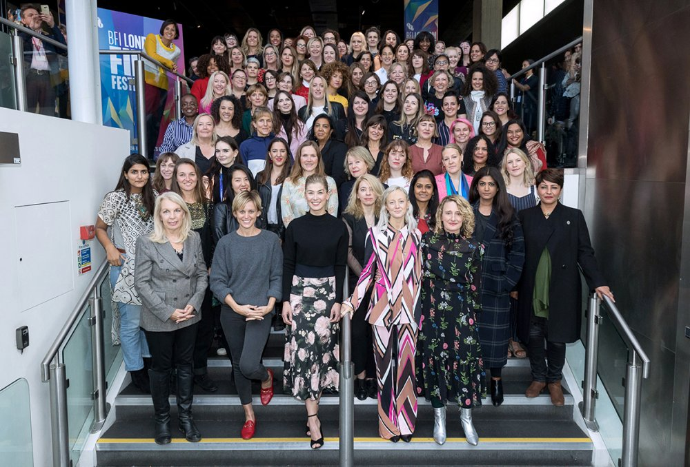 Female filmmakers premiering work at this year's LFF with London film professionals, BFI London Film Festival Creative Director Tricia Tuttle (front row, far right) and BFI CEO Amanda Nevill (front row, far left).