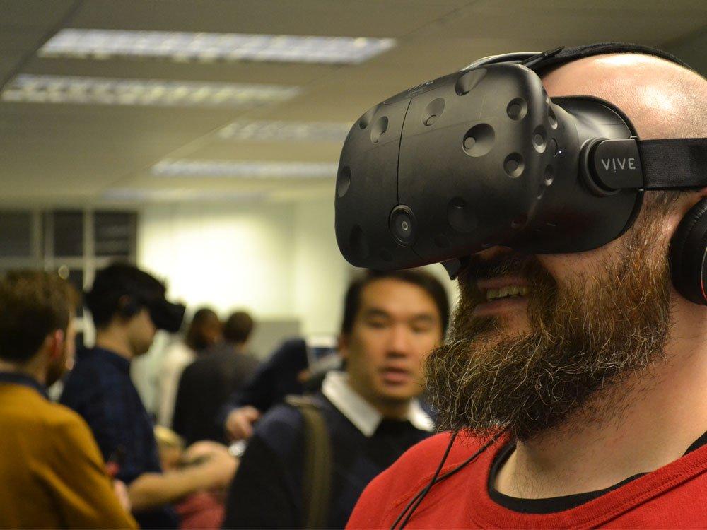 Stuart Burnsidefrom the BFI's Certification Team tries out Dubit's VR.