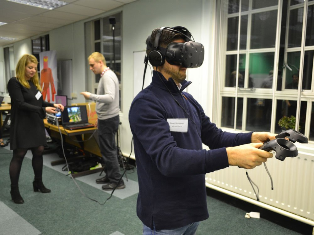 Attendee playing Dubit's VR game.