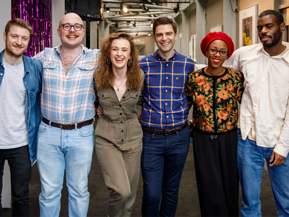 Left to right: Rhys Marc Jones, Edward Cripps, April Kelley, Garry Paton, Abena Taylor-Smith and Stephen Isaac-Wilson