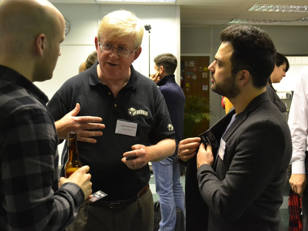 (L-R) Neil McPhillips (Channel), Keith Martin-Smith (Hexwar) and Naysun Alae-Carew (Blazing Griffin) chat at the networking drinks.