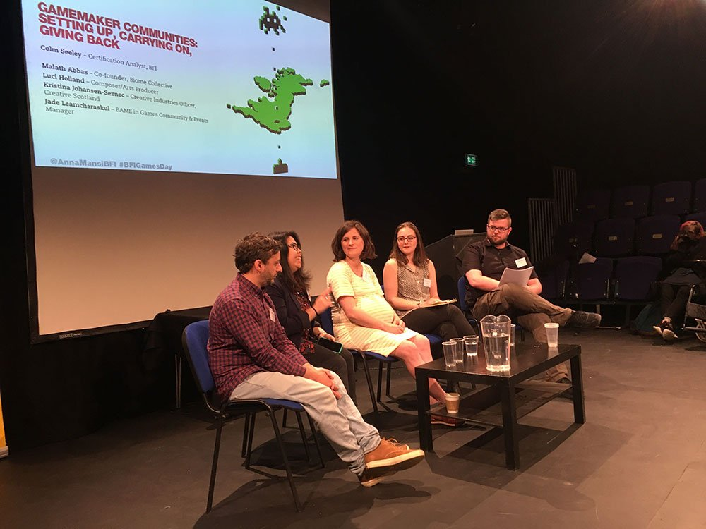 Colm Seeley (BFI Certification) chairs the final panel on communities with Malath Abbas (Biome Collective), Luci Holland (composer/arts producer), Kristina Johansen-Seznec (Creative Scotland) and Jade Leamcharaskul (BAME in Games)