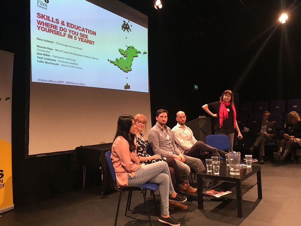 Gina Jackson (Imaginarium UK) chairs the Skills & Education session with Colin MacDonald (All4Games), Paul Leishman (Junkfish), Jess Hider (freelancer and artist) and Manasi Raje (Abertay University)