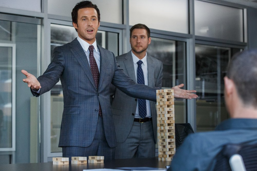 Jared Vennett (Ryan Gosling) displays his Jenga tower of mortgage-backed securities