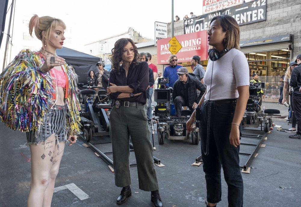Margot Robbie, Rosie Perez and director Cathy Yan on the set of Birds of Prey (2020)