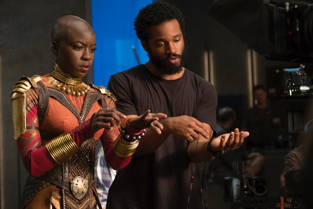 Ryan Coogler with actor Danai Gurira on the set of Black Panther (2018)