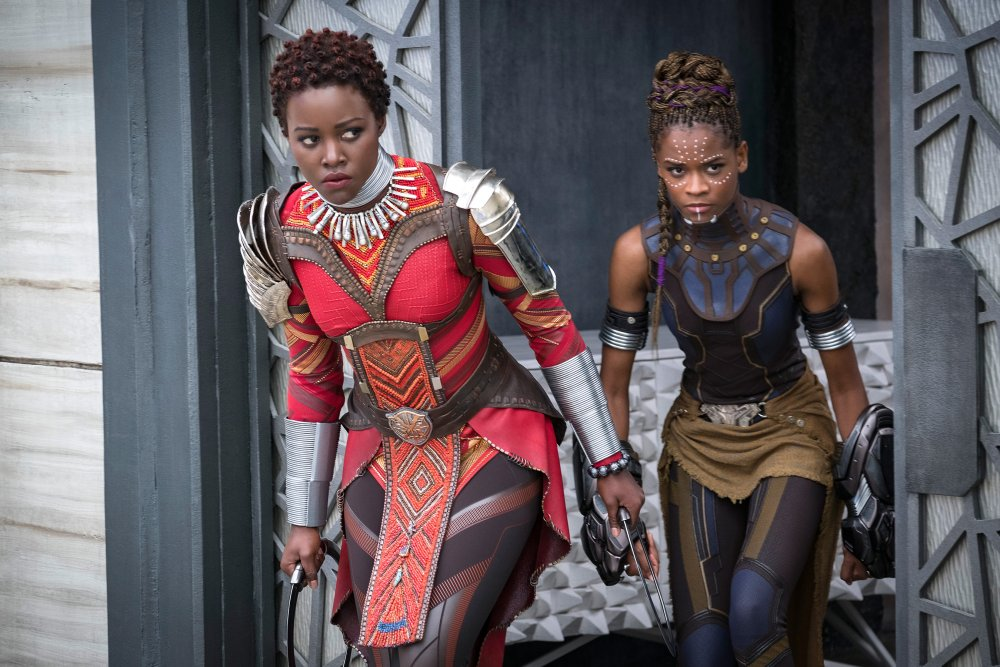 Lupita Nyong'o as Nakia and Letitia Wright as Shuri